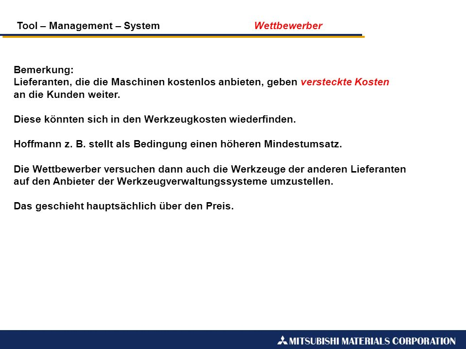 Tool – Management – System Wettbewerber