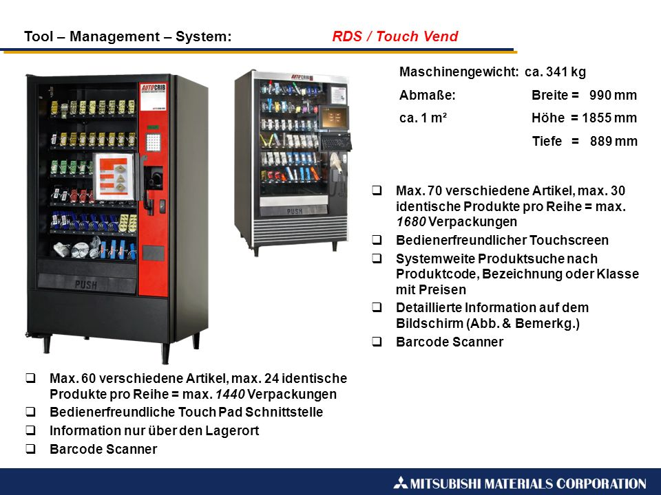 Tool – Management – System: RDS / Touch Vend