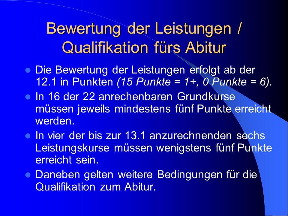 Bewertung der Leistungen / Qualifikation fürs Abitur