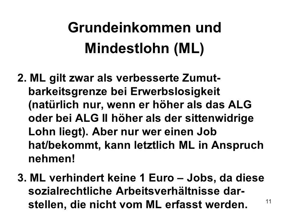 Grundeinkommen und Mindestlohn (ML)