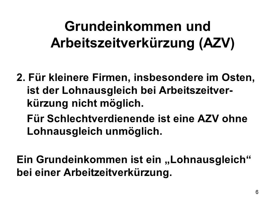 Grundeinkommen und Arbeitszeitverkürzung (AZV)