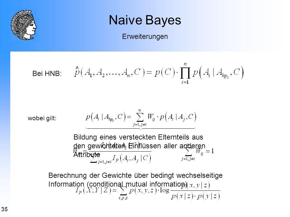 Naive Bayes Erweiterungen ^ Bei HNB: