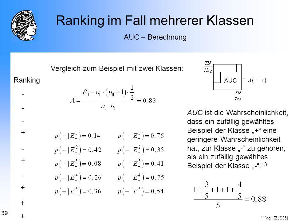 Ranking im Fall mehrerer Klassen