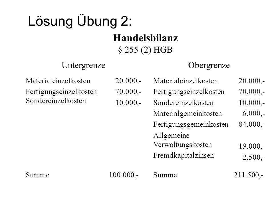 Lösung Übung 2: Handelsbilanz § 255 (2) HGB Untergrenze Obergrenze