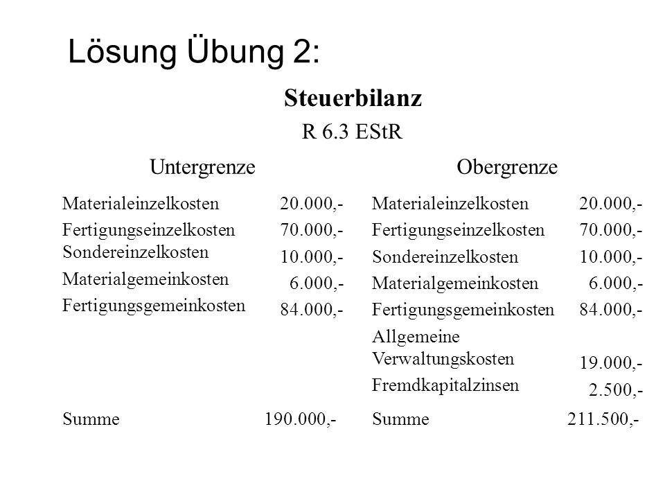Lösung Übung 2: Steuerbilanz R 6.3 EStR Untergrenze Obergrenze