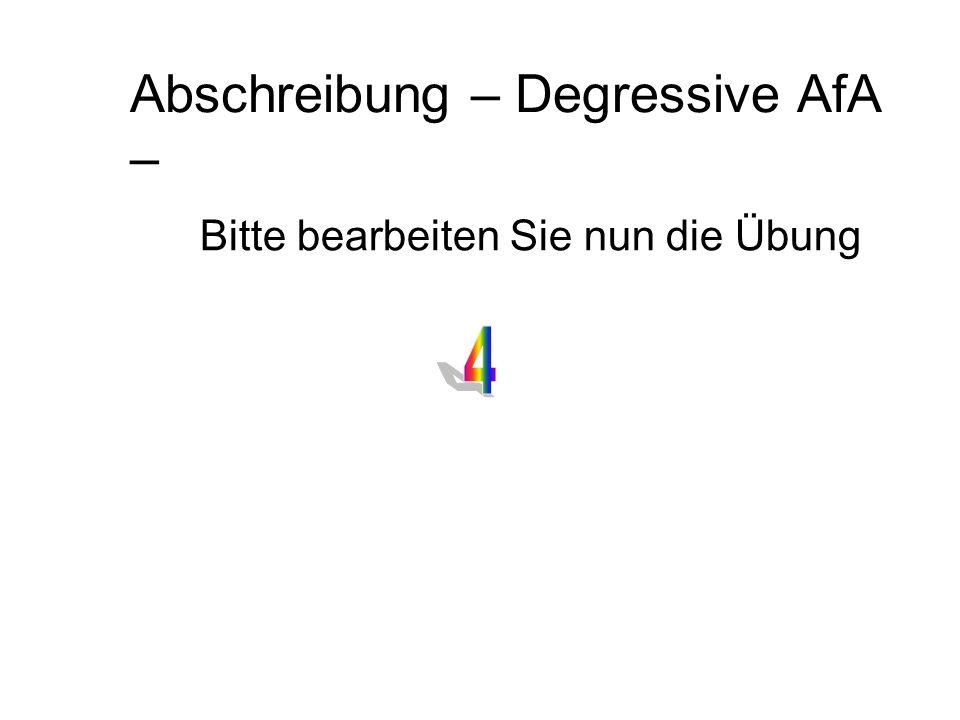 Abschreibung – Degressive AfA –