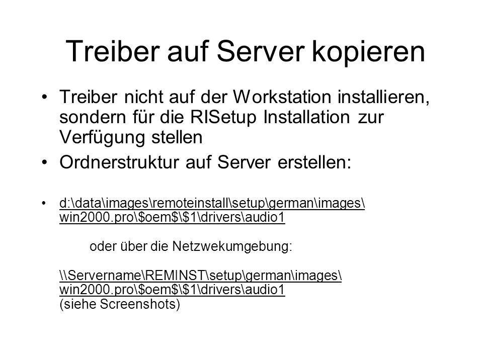 Treiber auf Server kopieren