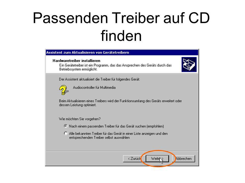 Passenden Treiber auf CD finden