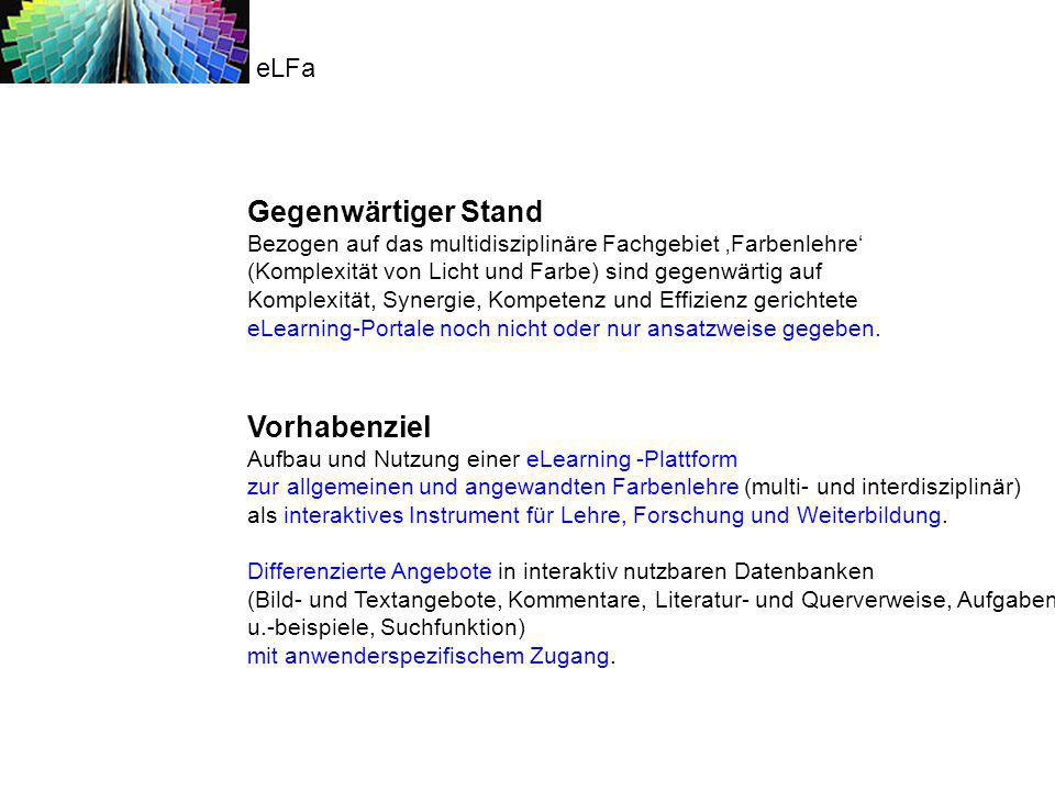 eLFa Gegenwärtiger Stand.