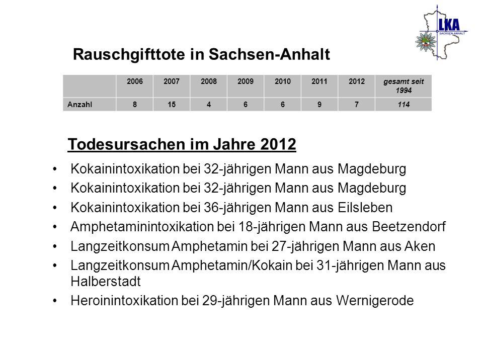 Rauschgifttote in Sachsen-Anhalt
