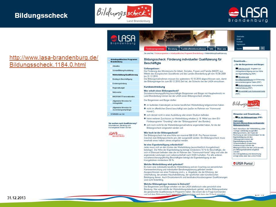 Bildungsscheck http://www.lasa-brandenburg.de/