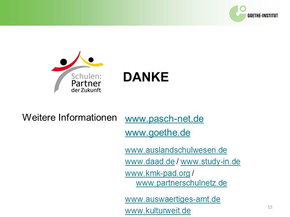DANKE Weitere Informationen www.pasch-net.de www.goethe.de