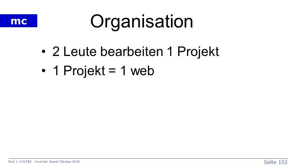Organisation 2 Leute bearbeiten 1 Projekt 1 Projekt = 1 web
