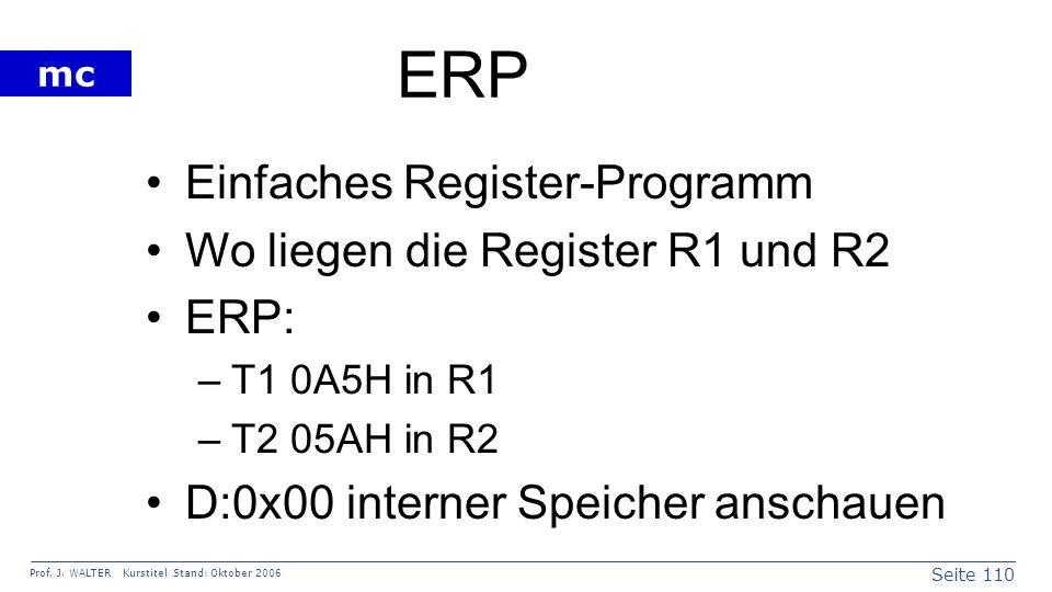 ERP Einfaches Register-Programm Wo liegen die Register R1 und R2 ERP: