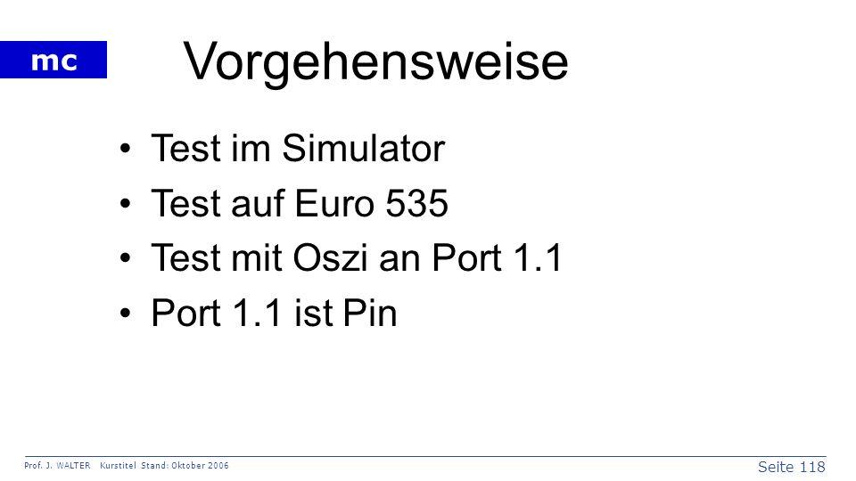 Vorgehensweise Test im Simulator Test auf Euro 535