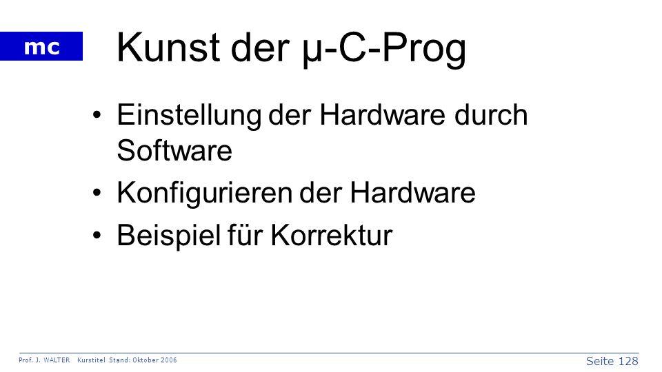 Kunst der µ-C-Prog Einstellung der Hardware durch Software