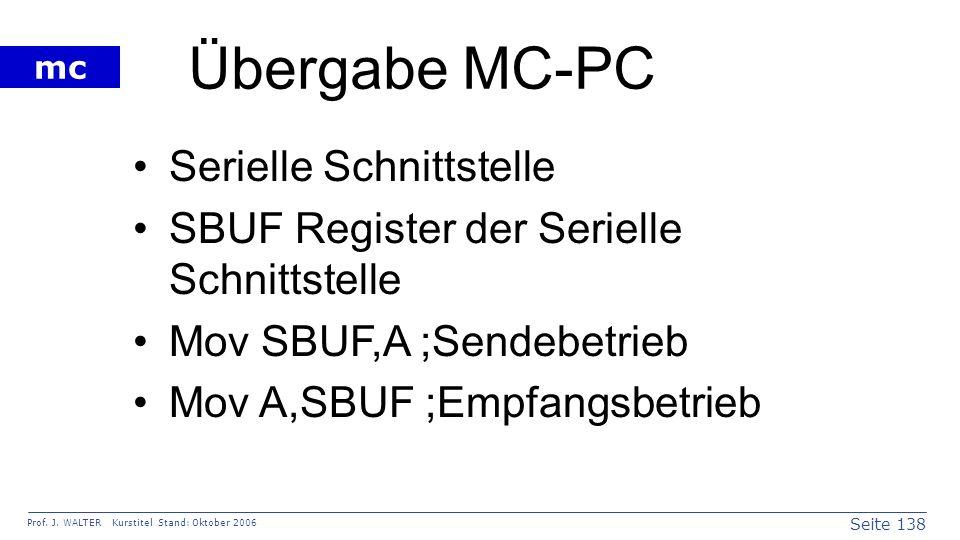 Übergabe MC-PC Serielle Schnittstelle