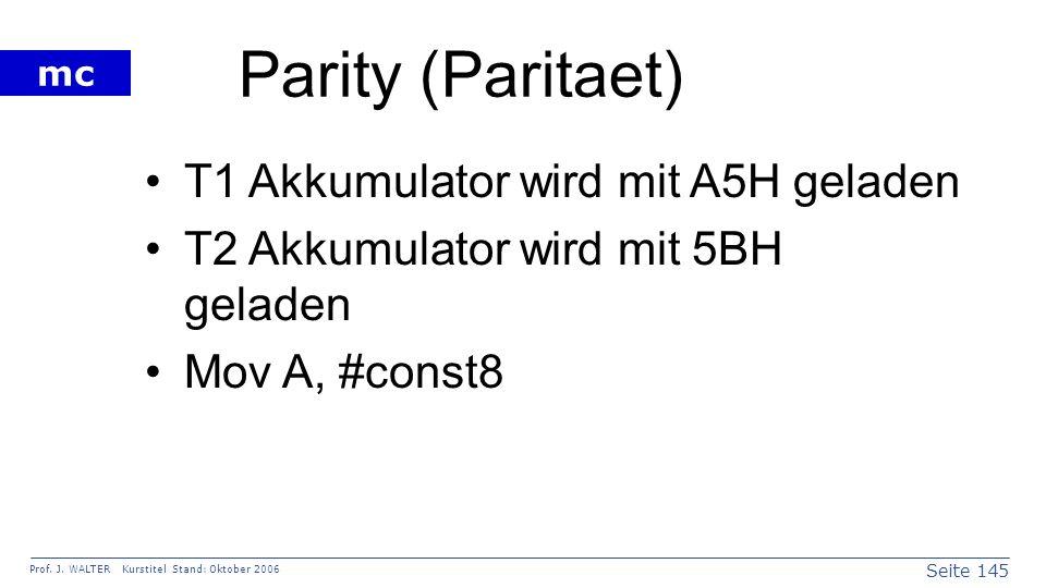 Parity (Paritaet) T1 Akkumulator wird mit A5H geladen