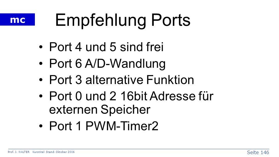 Empfehlung Ports Port 4 und 5 sind frei Port 6 A/D-Wandlung