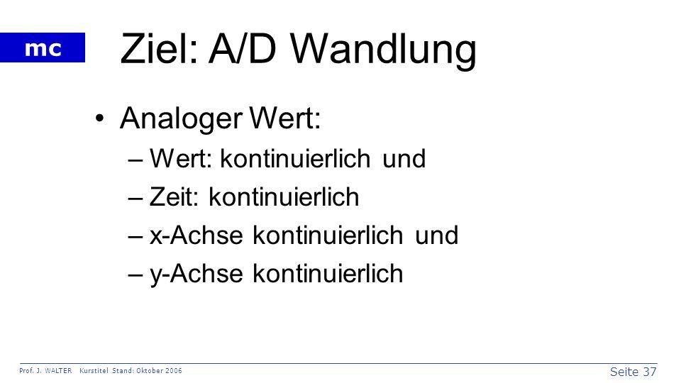Ziel: A/D Wandlung Analoger Wert: Wert: kontinuierlich und