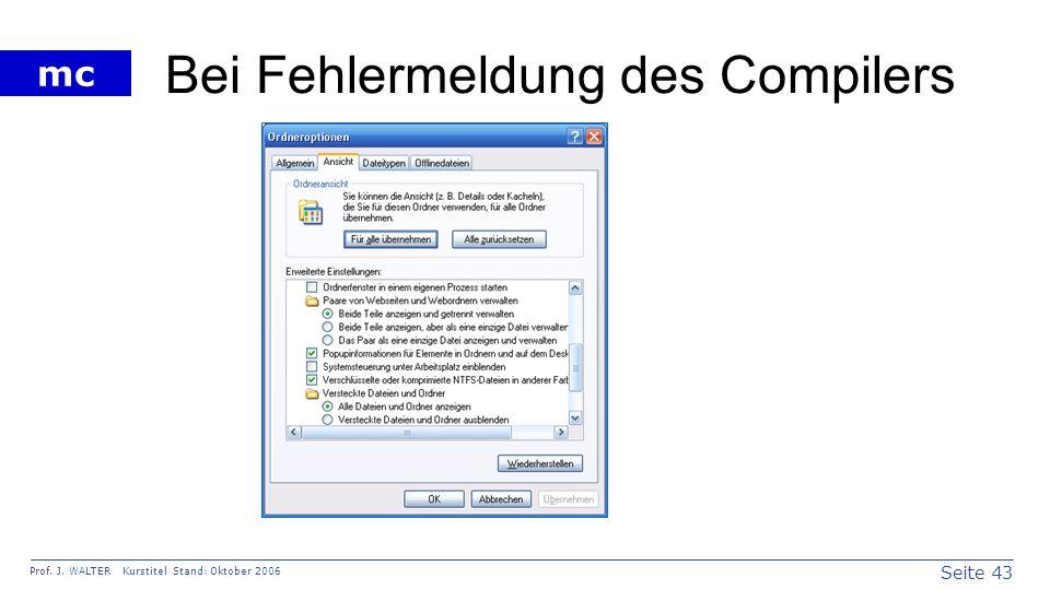 Bei Fehlermeldung des Compilers