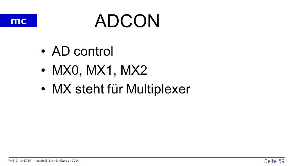 ADCON AD control MX0, MX1, MX2 MX steht für Multiplexer