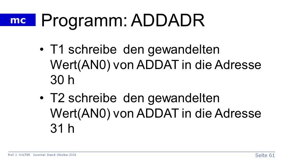 Programm: ADDADR T1 schreibe den gewandelten Wert(AN0) von ADDAT in die Adresse 30 h.