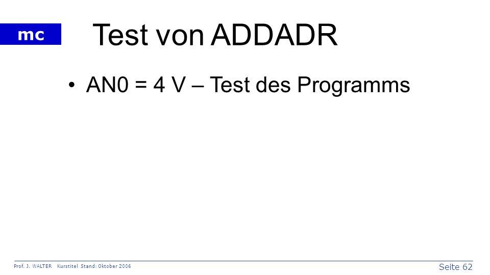 Test von ADDADR AN0 = 4 V – Test des Programms