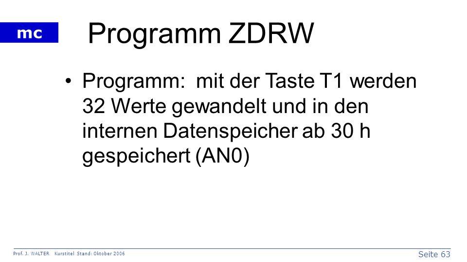 Programm ZDRW Programm: mit der Taste T1 werden 32 Werte gewandelt und in den internen Datenspeicher ab 30 h gespeichert (AN0)