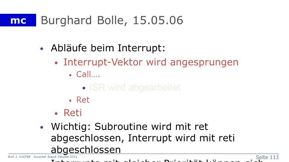 Burghard Bolle, 15.05.06 Abläufe beim Interrupt: