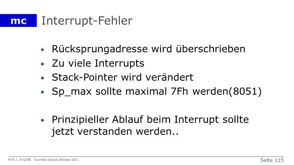 Interrupt-Fehler Rücksprungadresse wird überschrieben