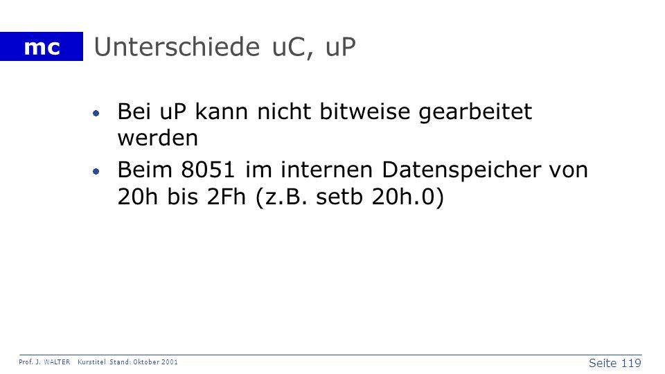 Unterschiede uC, uP Bei uP kann nicht bitweise gearbeitet werden
