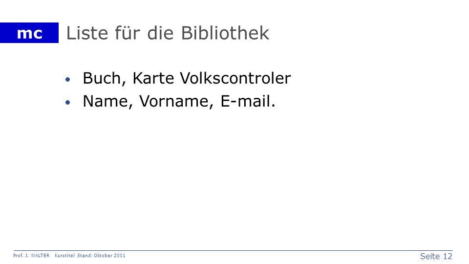 Liste für die Bibliothek
