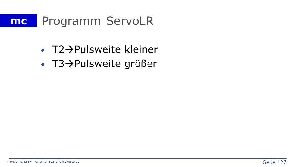 Programm ServoLR T2Pulsweite kleiner T3Pulsweite größer