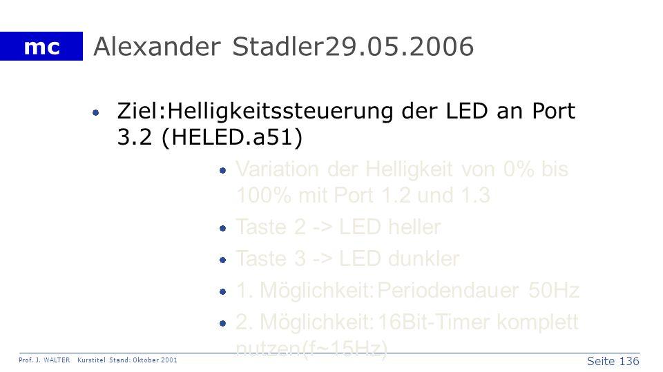 Alexander Stadler 29.05.2006 Ziel: Helligkeitssteuerung der LED an Port 3.2 (HELED.a51)