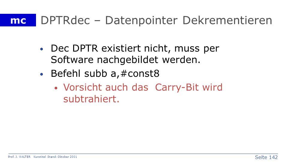 DPTRdec – Datenpointer Dekrementieren