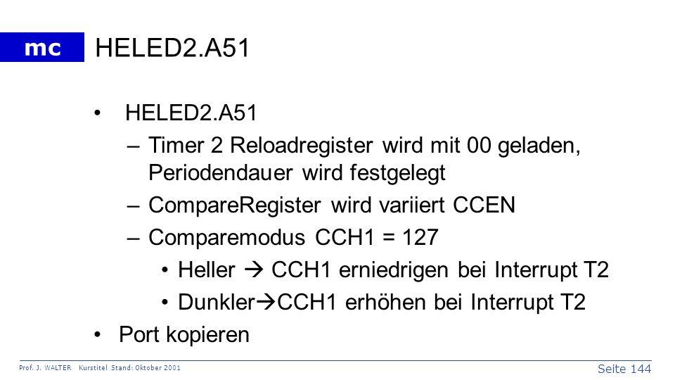 HELED2.A51HELED2.A51. Timer 2 Reloadregister wird mit 00 geladen, Periodendauer wird festgelegt. CompareRegister wird variiert CCEN.