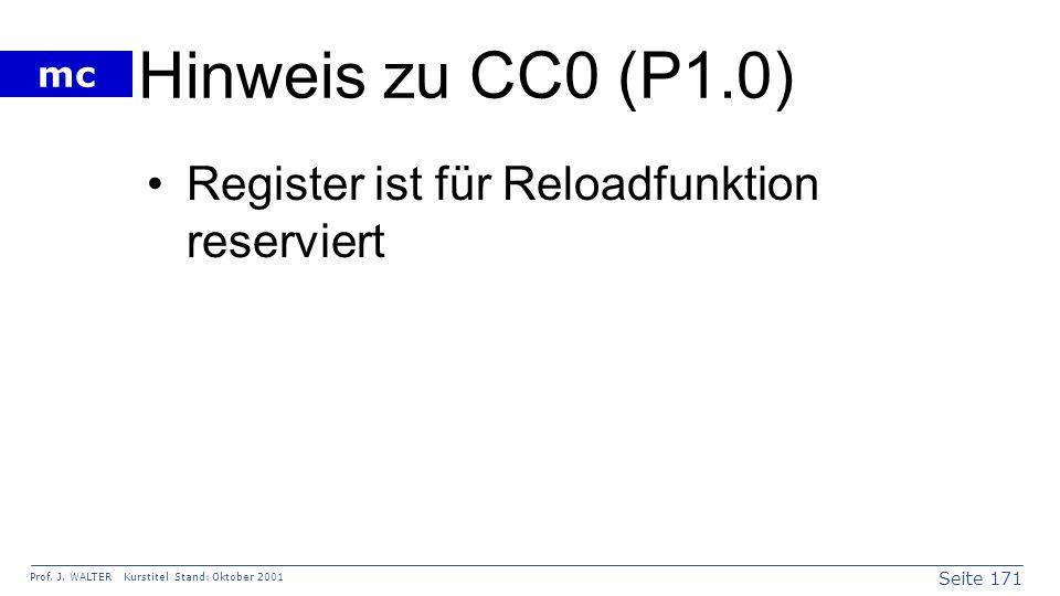 Hinweis zu CC0 (P1.0) Register ist für Reloadfunktion reserviert