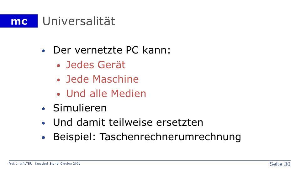 Universalität Der vernetzte PC kann: Jedes Gerät Jede Maschine