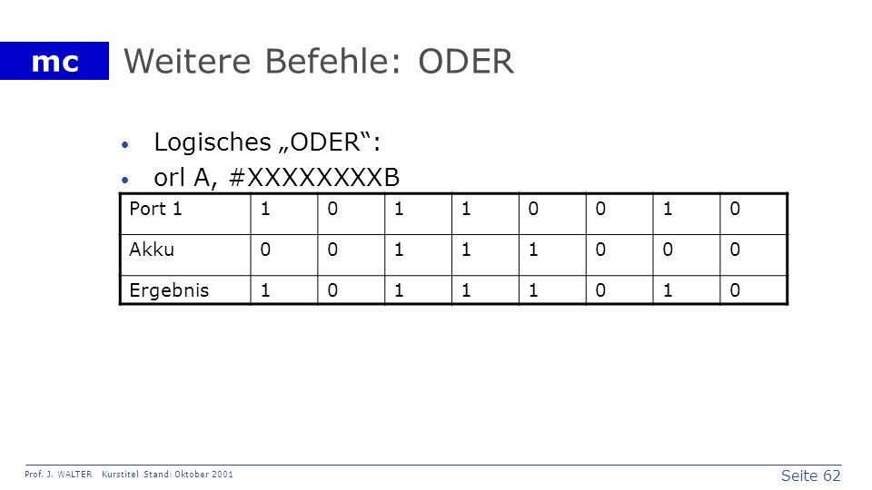 """Weitere Befehle: ODER Logisches """"ODER : orl A, #XXXXXXXXB Port 1 1"""