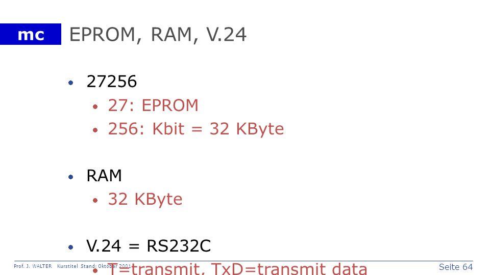 EPROM, RAM, V.24 27256 27: EPROM 256: Kbit = 32 KByte RAM 32 KByte