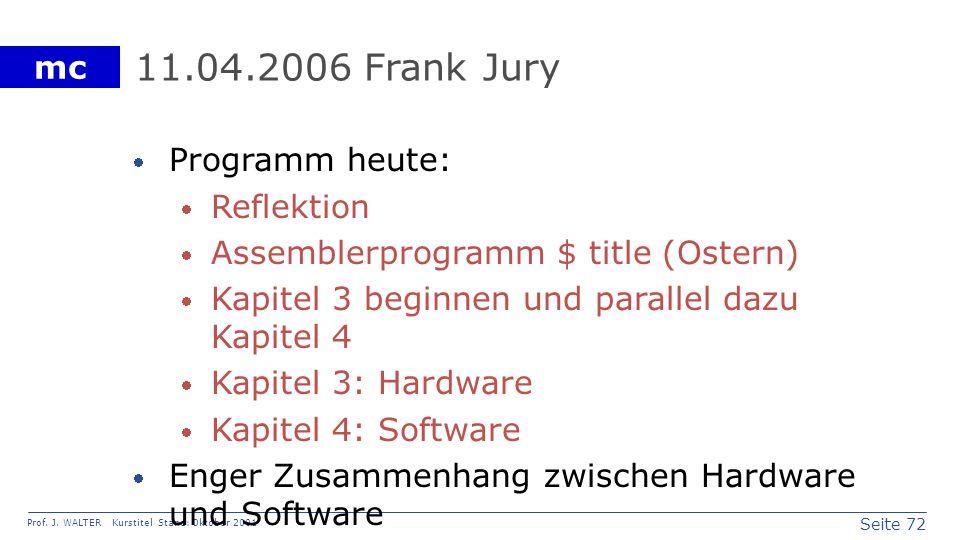 11.04.2006 Frank Jury Programm heute: Reflektion