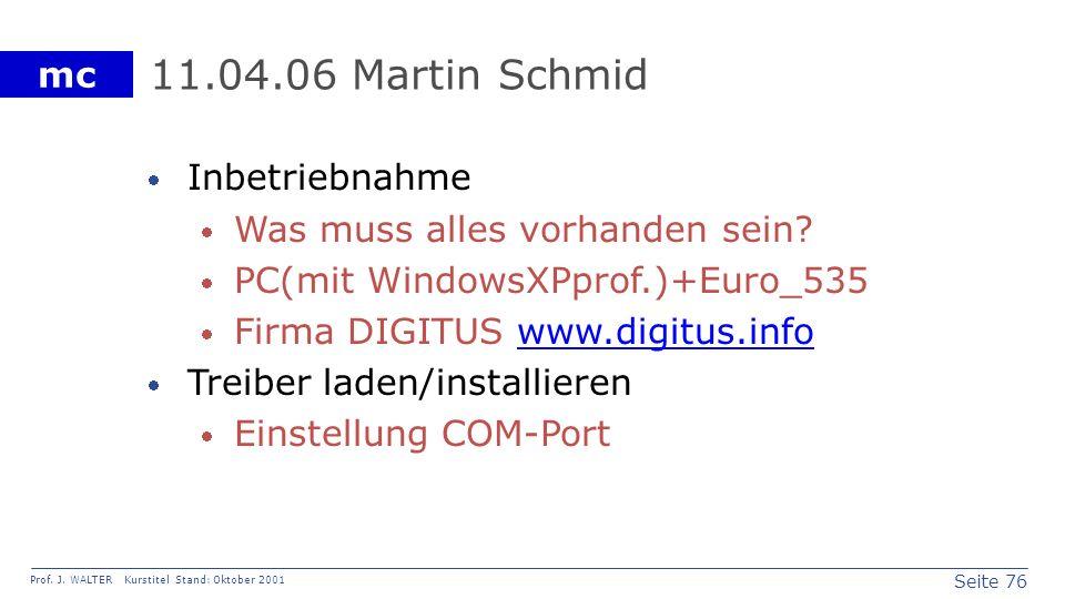 11.04.06 Martin Schmid Inbetriebnahme Was muss alles vorhanden sein