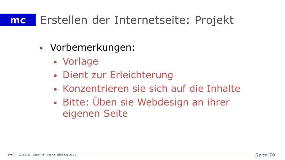 Erstellen der Internetseite: Projekt