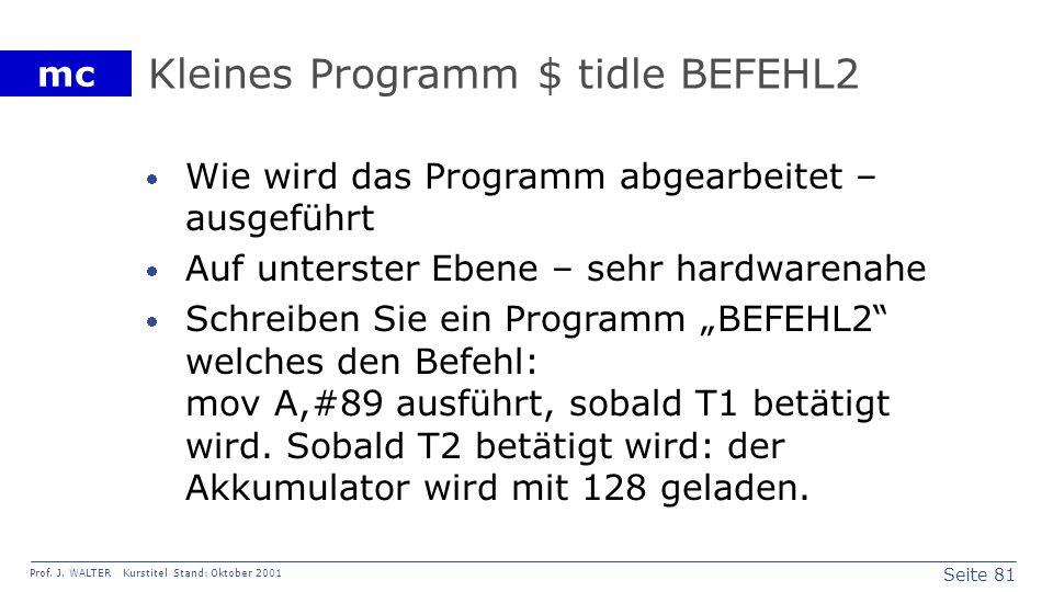 Kleines Programm $ tidle BEFEHL2