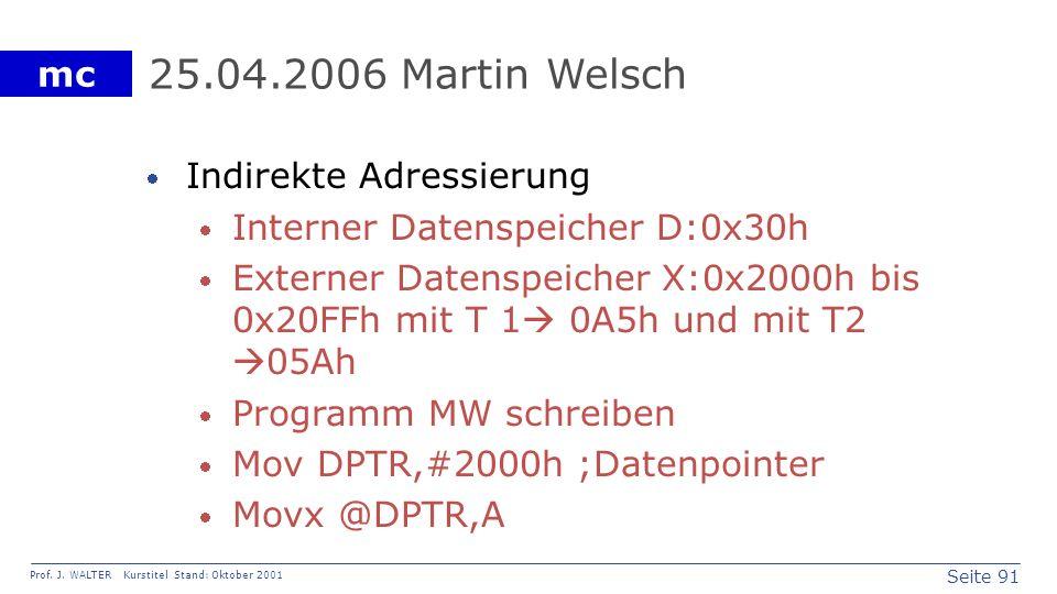 25.04.2006 Martin Welsch Indirekte Adressierung