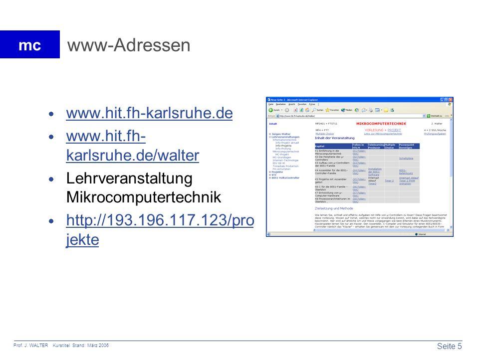 www-Adressen www.hit.fh-karlsruhe.de www.hit.fh-karlsruhe.de/walter