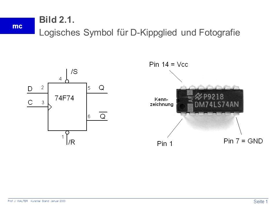 Bild 2.1. Logisches Symbol für D-Kippglied und Fotografie