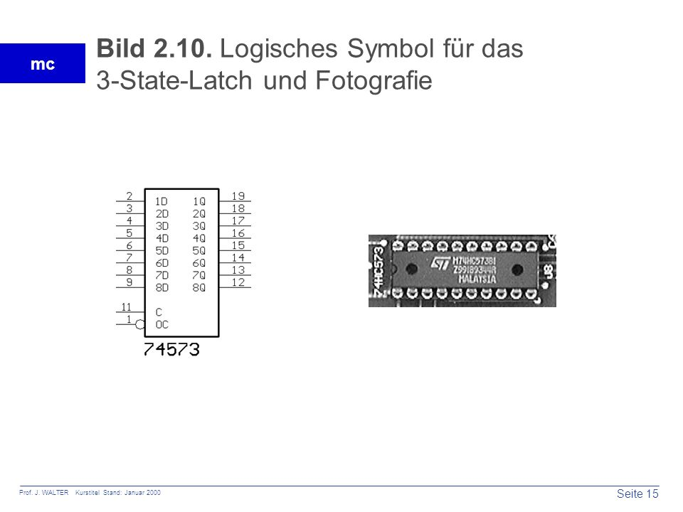 Bild 2.10. Logisches Symbol für das 3-State-Latch und Fotografie