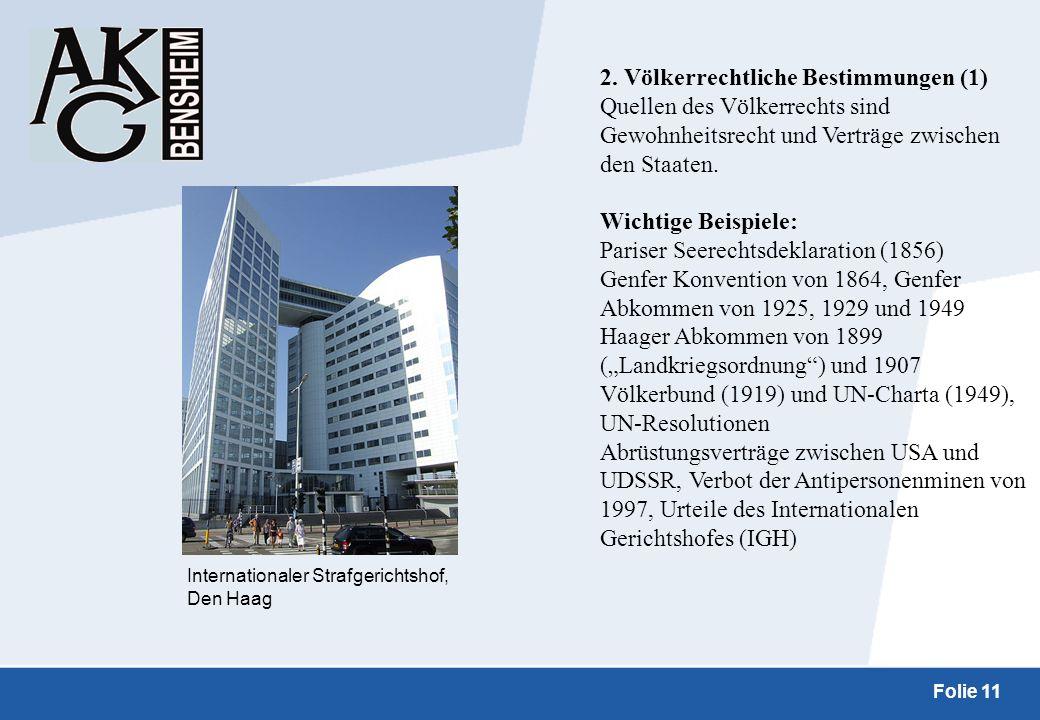 2. Völkerrechtliche Bestimmungen (1)